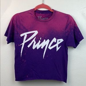 Prince custom dyed crop top band Tee shirt EUC Sm.